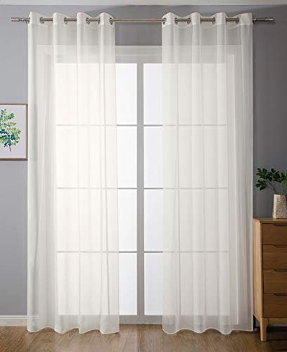 2er-Pack Ösen Gardinen Transparent Vorhang Set Wohnzimmer Voile Ösenvorhang Bleibandabschluß HxB 245x140 cm Creme, 203322