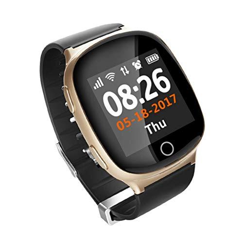 HSZH Reloj Inteligente Nuevo Reloj Inteligente para Ancianos GPS + LBS + WiFi Posicionamiento Anti pérdida de frecuencia cardíaca Presión Arterial Reloj Inteligente IP Gold
