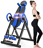 IRIS Fitness Heavy Duty Inversion Table with Headrest & Adjustable Protective Belt Back Stretcher Machine for Pain Relief Therapy Body, Heat and Massage Therapeutic Inversion Table (Blue)