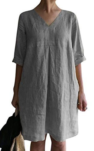 MAGIMODAC Baumwolle Leinen Kleid Damen Leinenkleider Sommer Sommerkleider Minikleid Freizeitkleid Knielang Tunika Kleider Kurz 34 36 38 40 42 44 46 48 (Grau, 42)