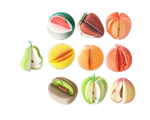 DSstyles Bloc de Notas Forma de Fruta Blocs para Mensajes Mini Portátil Nota (Juego de 10 piezas)