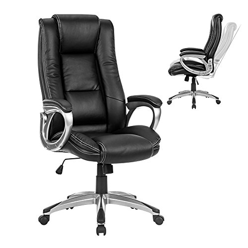 LANGRIA High-Back Executive Office Chair Black Faux Leather Computer Chair, Modern and Ergonomic Design, Well-Padded Armrests, Adjustable Seat Height, Knee Tilt Mechanism, 360 Degree Swivel, LROC-7263