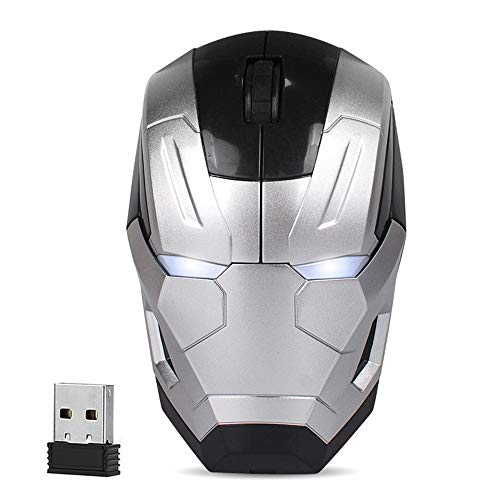 Cool Wireless Mouse Iron Man Black Panther Star Lord Ant Man Tree Man Gaming Mice with USB Unifying Receiver 1200 DPI for PC and Laptops (Iron Man Silver)