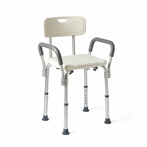Medline Shower Chair Bath Seat with Padded Armrests and Back, Supports up to 350 lbs, White