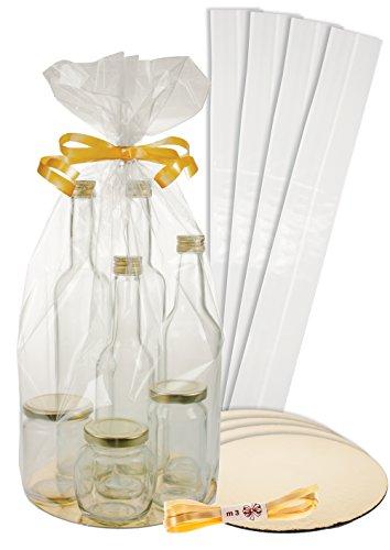5er Set Diamantbeutel Ø 200 mm mit Scheibe gold/silber und Schleifenband, Präsentverpackung, Geschenkfolie