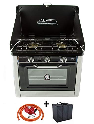 NJ CO-01 Camping Gas Oven & Kookplaat Draagbare RVS Fornuis 2 Brander met Draagtas Outdoor + Propaan Regulator Set