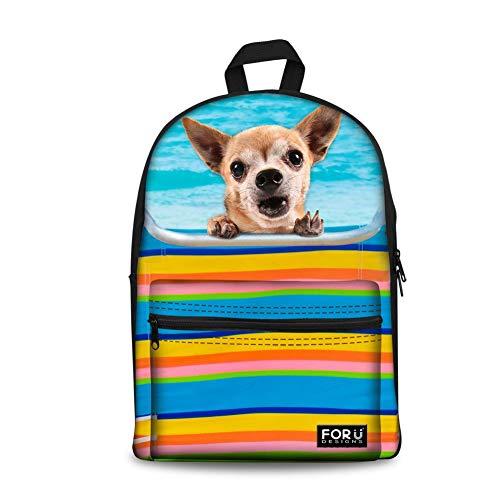 Cute Chihuahua Dog Print Travel Backpack Rucksack Schoolbag for Teen Boy Girl