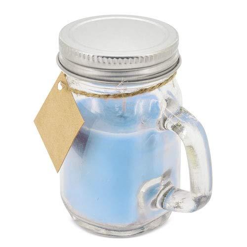 Lote de 25 Velas Aromáticas presentadas en simpática Jarrita de Cristal con asa y tapa metálica + Tarjeta Colgante. Velas para Detalles y recuerdos Bodas, Bautizos, Comuniones (Azul)