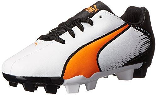 PUMA Adreno Firm Ground JR Soccer Shoe (Little Kid/Big Kid), White/Shocking Orange/Black, 4 M US Big Kid