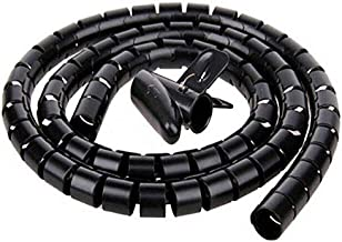 2M Length 22mm Black Flexible Spiral Tube Cable Organizer Wire Wrap Cord Protector Wire Storage Pipe Cable Winder