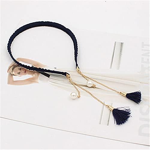 tggh Pendientes colgantes de perlas de imitación para mujer con borla y accesorios para el cabello (color azul marino)