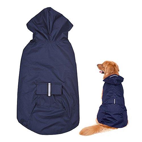 Blusea Impermeable Perro Grande con Capucha y Collar Agujero y Tiras Reflectoras Seguras, Ultra-Light Transpirable Chaqueta para Lluvia para Medianos Perro de Raza (Blue - 5XL)