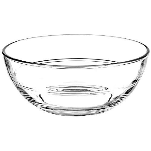 KADAX runde Glasschale, Glasschüssel, Salatschüssel, Schale für Obst, Salat, Dessert, Tiefe Salatschale, Obstschale aus hochqualitativem Glas, Tischdeko, transparent (20cm)