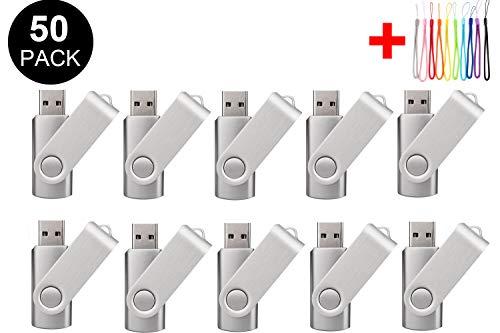 50 unidades de memoria USB 2.0/3.0, color negro (2.0/4 GB, plata)