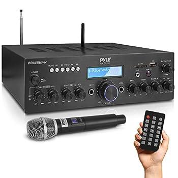 Wireless Microphone Power Amplifier System - 200W Dual Channel Sound Audio Stereo Karaoke Speaker Receiver w/USB AUX Microphone in w/Echo Radio,Home Theater via RCA Studio Use - Pyle PDA8BUWM.5