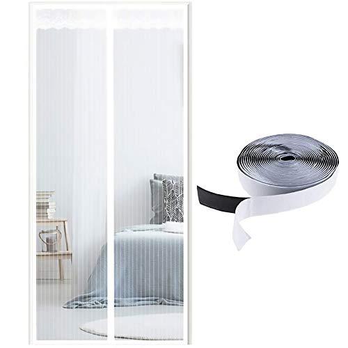 MeetBeauty Magnet Fliegengitter Tür Insektenschutz, Der Magnetvorhang ist Ideal für die Balkontür, Kellertür Und Terrassentür, Kinderleichte Klebemontage Ohne Bohren, Weiß, 100 x 220 cm