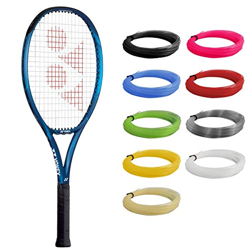 YONEX EZONE 26 Deep Blue Tennis Racquet Strung with Blue Synthetic Gut Racket String (Made for Junior Players About to Move Up to Their First Adult Frame)