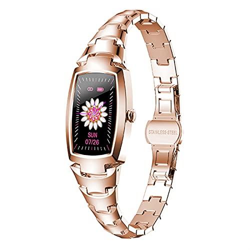 Achnr Smart Watch Women Full Touch Multi-Sports Fitness Tracker Monitor de Ritmo cardíaco Presión Arterial SmartWatch Reloj (Color : Rosegold)