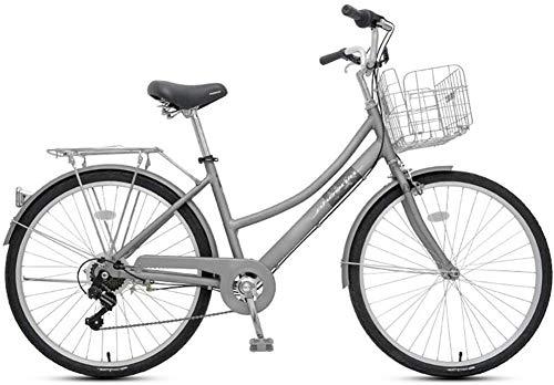 XYLUCKY Fahrraderwachsene Damen Geschwindigkeit Ordinary Retro Leichtes Fahrrad, 7-Gang 26 Zoll Beach Cruiser Fahrrad für Männer und Frauen,Grau