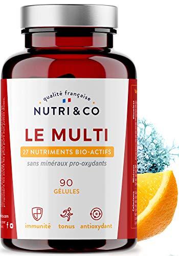 Multivitamines et Minéraux 27 Nutriments • Vitamines A, B, C, D3 (1000 UI), E et K2 Bio-Actives • Minéraux Haute Absorption • Complexe Vitalité Homme/Femme • 90 Gélules Fabriquées en France • Nutri&Co