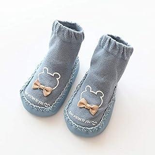 eaz, eaz Calcetines de algodón para niños con dibujos animados, antideslizantes, suaves, con lazo, calcetines de invierno para niños (color: azul, tamaño de zapato: 13 cm (9 12 meses))