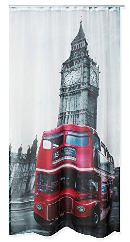 Haus und Deko Voile Dekoschal Bedruckt ca. 140x245 Vorhang halbtransparent Gardine Band #1646 London