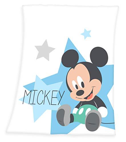 Disney - Manta (75 x 100 cm), diseño de Mickey Mouse, color azul claro