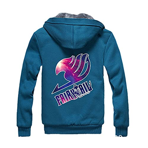SpiEwt Chaqueta De Invierno Fairy Tail Chándal Hombre Moda Espesar Terciopelo Casual con Capucha Cálida Sudadera con Capucha Gruesa Azul XL