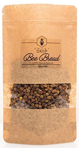 100% natürliches Bienenbrot von Sweet Drop, roh, biologisch, fermentierter Blütenpollen, Perga, Immununterstützung, Energie-Booster, geeignet für Vegetarier, 200 g Doy-Pack