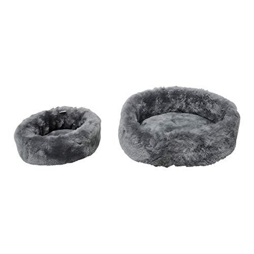 Dierenbed grijs korte wol verschillende maten hondenmand hondenmand kattenmand slaapplaats 100% Merino schapenvacht, Groß Ø 80 cm, grijs
