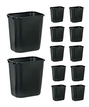 Rubbermaid Commercial Products Fg295600Bla Plastic Resin Wastebasket Trash Can for Bedroom Bathroom Office 7 Gallon/28 Quart Black  Pack of 12