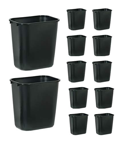 Rubbermaid Commercial Products Fg295600Bla Plastic Resin Wastebasket Trash Can for Bedroom Bathroom, Office, 7 Gallon/28 Quart, Black (Pack of 12)