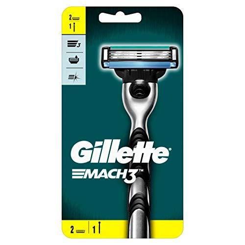 Gillette Mach3 Rasierer Herren mit verbesserten Feuchtigkeitsstreifen, Rasierer + 2 Rasierklingen