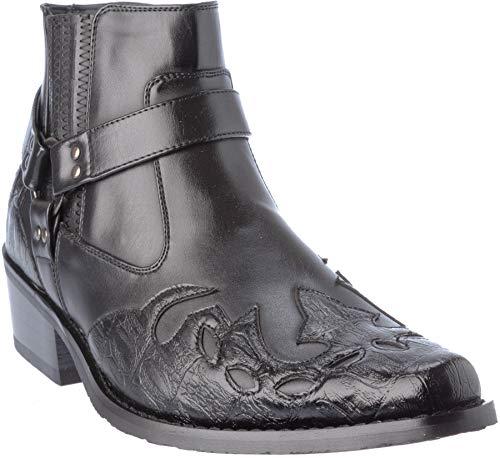 western11 Herren Western-Stil Cowboy Stiefel PU-Leder Dress-Schuhe, Schwarz (schwarz), 42.5 EU