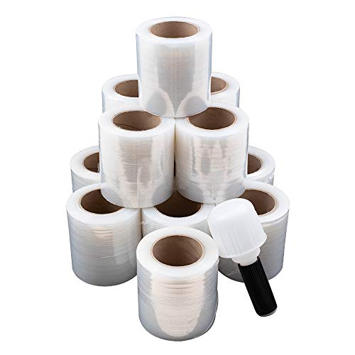 """Case Set 12 Rolls 5"""" x 1000' Clear Stretch Film Shrink Wrap 80 Gauge w/ 1 Handle for Office Warehouse Shipping Storage Retail Home"""