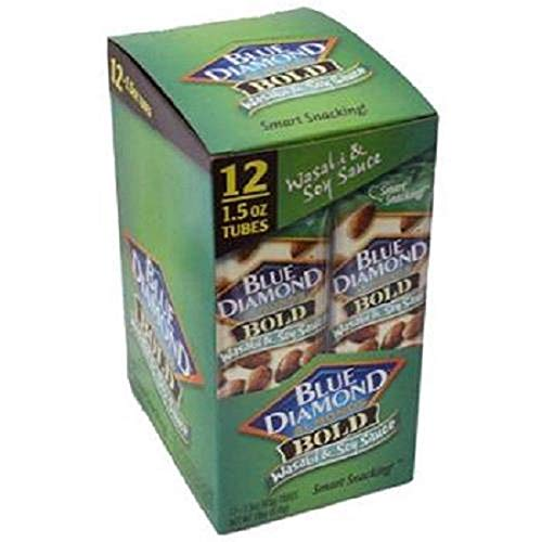 Blue Diamond Bold Almonds, Wasabi & Soy Sauce, 1.5 oz tubes 12 ea