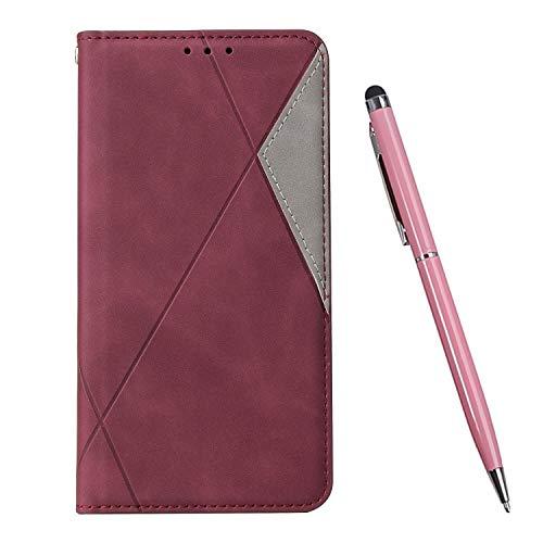 TOUCASA Kompatibel mit Samsung Galaxy S8 Hülle, Handyhülle Brieftasche PU Leder Flip Case [Ständer Kartenfach] [Taktile Stitching] Handytasche Klapphülle Kratzfestes Schutz Lederhülle (Rot)