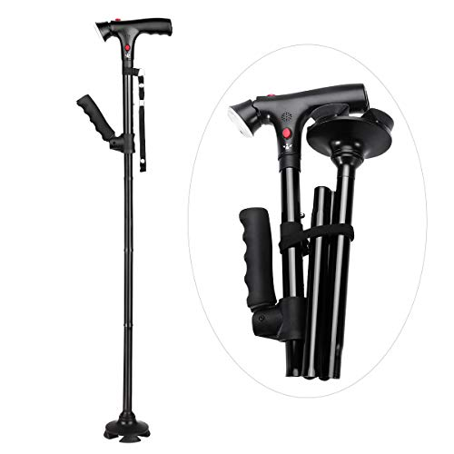 HEALIFTY Folding Cane with Alarm Button - Aluminium Walking Aids with LED Light - Lightweight, Collapsible, Fashionable, Foldable Travel Stick, Easy Fold up - for Men, Women, Elder