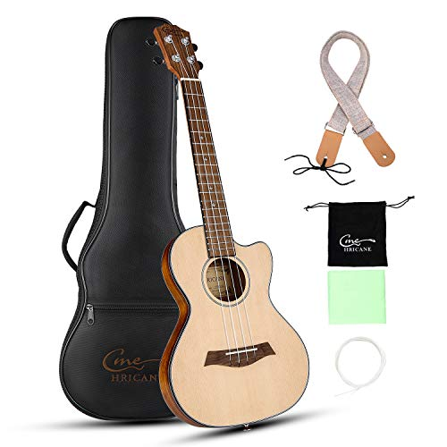 Hricane Cutaway Tenor Ukulele 27 Inch Extra Slim Light Spruce Top Travel Ukulele for Beginner with Gig Bag Strap Strings Sets