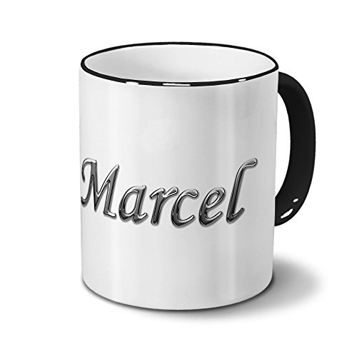 printplanet Tasse mit Namen Marcel - Motiv Chrom-Schriftzug - Namenstasse, Kaffeebecher, Mug, Becher, Kaffeetasse - Farbe Schwarz