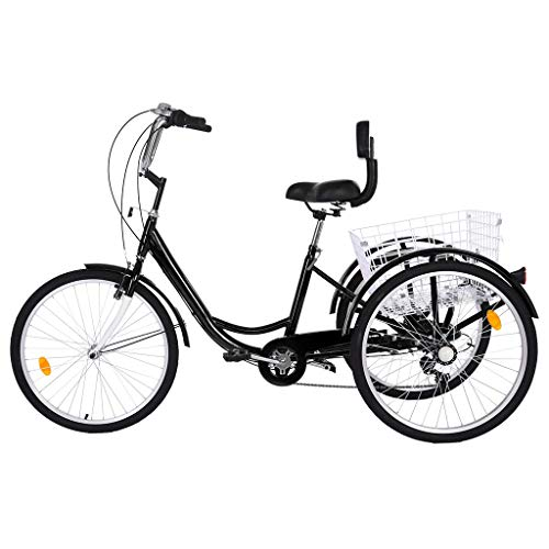 Gorunning Adult Tricycle, 7-Speed Tricycle, High-Strength Steel Frame, Front and Rear Fenders, Adjustable Handlebars, Large Cruiser Seat, and Large Rear Folding Basket, for Seniors, Women, Men (Black)