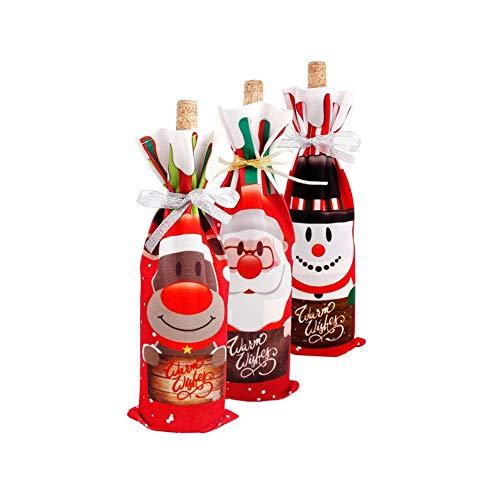 MHUI Bolsas para Botellas de Vino navideñas, Juego de 3 Bolsas para Botellas de Vino Tinto navideñas para Vestir Botellas de champán