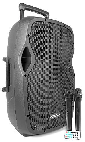 Vonyx AP1200PA 12 inch Mobiele Speaker op Accu met 2 Microfoons, Bluetooth en USB en SD aansluiting