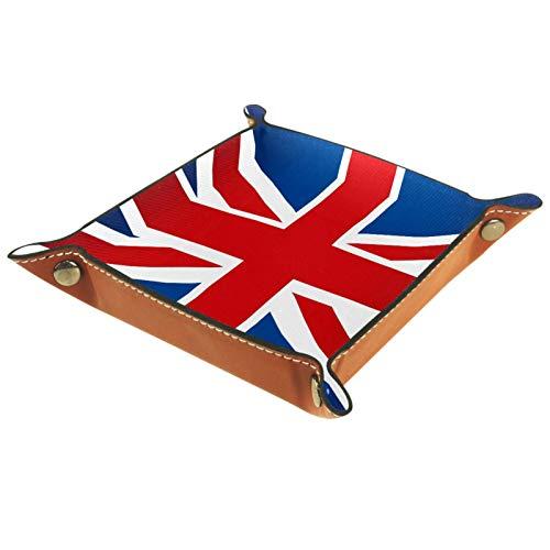 Bandeja de valet Organizador de escritorio Caja de almacenamiento Bandeja de recogida de cuero con bandera británica para uso doméstico