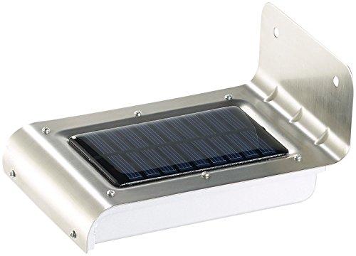 Luminea Wandlampe mit Sensor: Edelstahl-LED-Solar-Wandleuchte, Licht- & Bewegungssensor, 48 lm, 0,5W (außen-Solar-Beleuchtung)