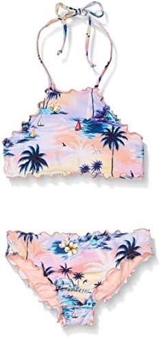 Hobie Girls Big High Neck Bikini Top and Hipster Bottom Swimsuit Set Multi Island Dream 14 product image