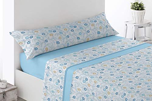 Juego de sábanas Estampadas de Microfibra Transpirable Mod. Comres (Disponible en Varios tamaños y Colores) (Azul, Cama de 135 cm (135_x_190/200 cm))