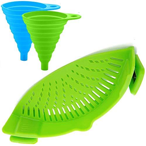 Siliconen Snap Strainer met 2 Inklapbare Funnels, HandsFree Clip-on Hittebestendige Vergiet Tuit voor Pasta Plantaardige Noedels Pot Bowl Pan - Groen