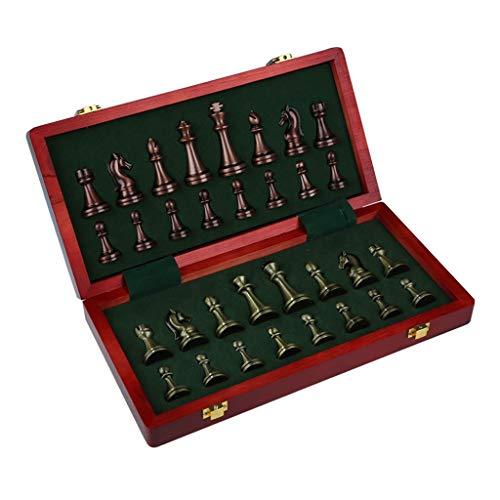 Schachspiel Erwachsene/Kinder, Premium Schachbrett Holz/Schachfiguren Metall, 11,8 Zoll Faltbare Reiseschachbrettspiel, Innenraum Lagerplatz, Geschenke für Männer (Color : Style A)