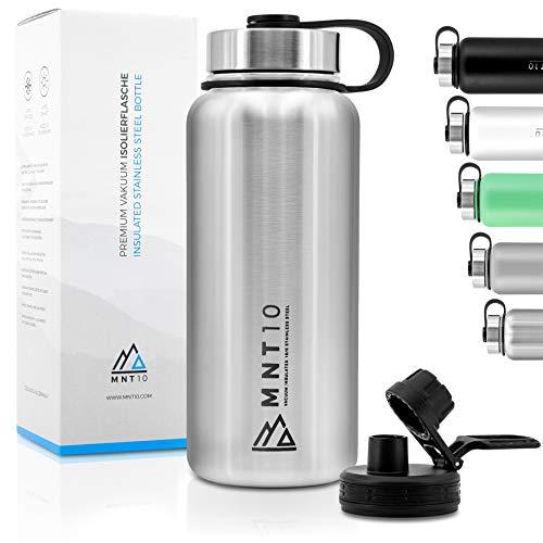MNT10 Edelstahl Trinkflasche 1000ml I Premium Isolierflasche für Wandern, Fitness, Fahrrad, Schule und Büro I Wasserflasche + Gratis Sportdeckel (Edelstahl | 1000ml)